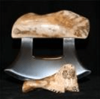 Ulu Rocker Knife With Hand Carved Walrus Jaw Bone Handle And Carved Base Blade Options 440 Stainless Steel Or Forged Plated Damascus Steel 6 Blade Length Tip To Tip Leather Sheath Available
